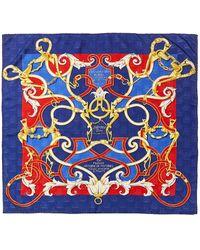 """Hermès """"l'instruction Du Roy (en L'exercice De Monter A Cheval),"""" By Henri D'origny Silk Scarf - Blue"""