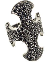 Arthur Marder Fine Jewelry Silver Black Spinel Ring - Metallic