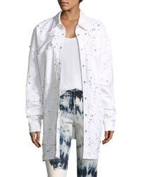 Eileen Fisher Distressed Denim Jacket - White