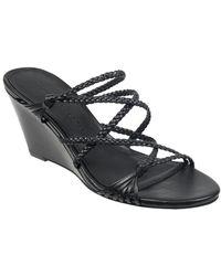 Sigerson Morrison Maddie Leather Wedge Sandal - Black