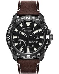 Citizen Eco-drive Stainless Steel Leather-strap Sports Watch - Black