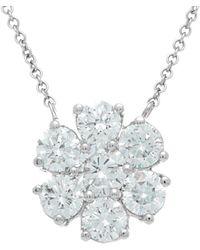 Diana M. Jewels . Fine Jewellery 18k 2.35 Ct. Tw. Diamond Cluster Flower Necklace - Metallic