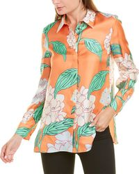 Lafayette 148 New York Blooming Hydrangea Silk Blouse - Orange