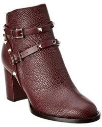 Valentino Rockstud Leather Bootie - Red