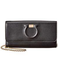 Ferragamo Gancio City Leather Wallet On Chain - Black