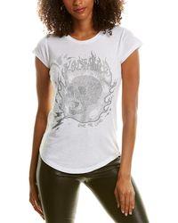 Zadig & Voltaire Skinny Strass Flamme Skull T-shirt - White