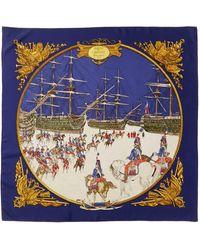 "Hermès ""marine Et Cavalerie,"" By Philippe Ledoux Silk Scarf - Blue"