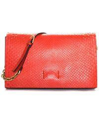 Calvin Klein Red Leather Chain Clutch, Nwt