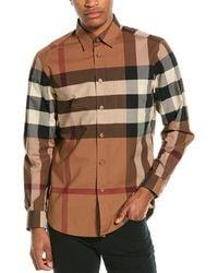 Burberry Check Stretch Poplin Woven Shirt - Brown