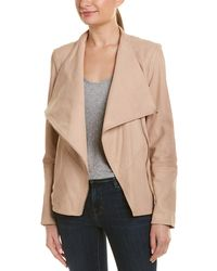 Lamarque Mira Drape Leather Jacket - Brown