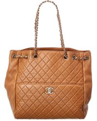 Chanel Brown Quilted Lambskin Leather Large Drawstring Bag