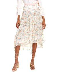 LoveShackFancy Adonis Silk Skirt - Natural