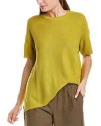 Eileen Fisher Round Neck Linen-blend Tunic Sweater - Green