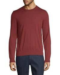 Ermenegildo Zegna Wool Crew Sweater - Red