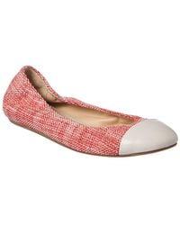 Lanvin Tweed Cap Toe Ballet Flat - Red