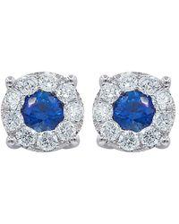 Diana M. Jewels - . Fine Jewelry 18k 1.00 Ct. Tw. Diamond & Sapphire Studs - Lyst