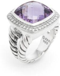 David Yurman Sterling Silver, Amethyst & 0.35 Total Ct. Diamond Albion Ring - Purple