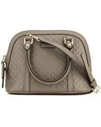 Gucci Grey Leather Dome Satchel