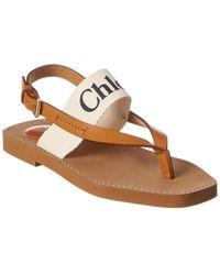 Chloé Woody Logo Canvas & Leather Sandal - White