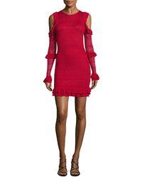 Ronny Kobo Knit Ruffle Dress - Red