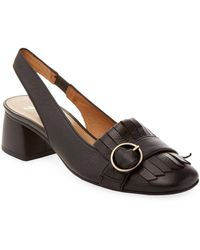 French Sole - Kilted Sling Back Court Shoes - Lyst
