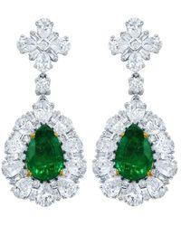 Diana M. Jewels . Fine Jewellery 18k 8.62 Ct. Tw. Diamond & Green Emerald Drop Earrings