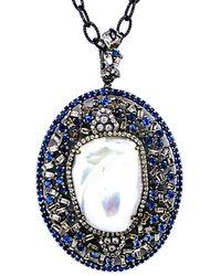 Arthur Marder Fine Jewelry Silver 2.00 Ct. Tw. Diamond, Sapphire, & 19-25mm Pearl Pendant Necklace - Blue