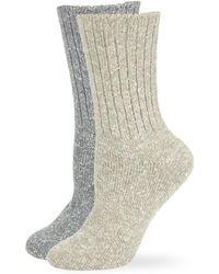 Hue Two-pack Tweed Rib Boot Socks - Gray