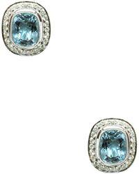 Jyoti New York - Aquamarine & Diamond Cushion Stud Earrings - Lyst
