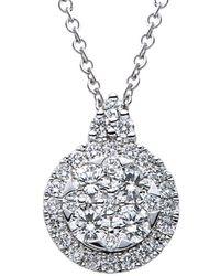 Suzy Levian 18k 1.05 Ct. Tw. Diamond & Blue Sapphire Pendant Necklace - Metallic