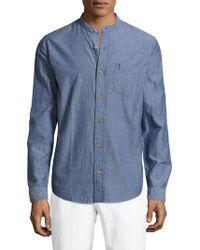 Tailor Vintage - Chambray Mandarin Collar Sportshirt - Lyst