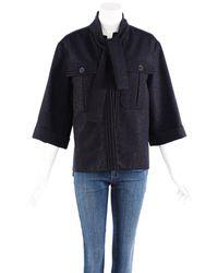 Chanel Tie-neck Wool-blend Jacket, Size Fr 38 - Blue