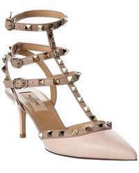 Valentino Garavani Rockstud Caged 70 Leather Sandal - Pink