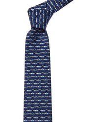 Ferragamo Navy Whales Silk Tie - Blue