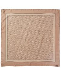 Burberry Monogram Print Silk Square Scarf - Natural