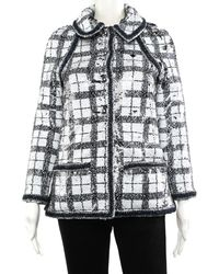 Chanel Black & White Check Jacket, Size Fr 34 - Multicolour