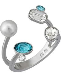Swarovski - Rhodium Plated Crystal & Simulated Pearl Open Top Ring - Size 8.25 - Lyst