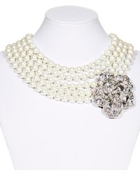 Kenneth Jay Lane 5-strand Crystal Flower Necklace - Metallic