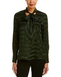 Lafayette 148 New York Oakley Silk Blouse - Green