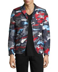 Moncler Camo Print Notch Lapel Jacket - Multicolour