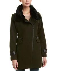 Trina Turk - Aubree Leather-trim Wool-blend Coat - Lyst