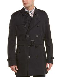 Burberry Kensington Mid Length Heritage Trench Coat - Black