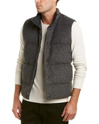 Vince Quilted Wool-blend Down Vest - Gray