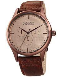 August Steiner Men's Genuine Leather Strap Watch - Multicolor