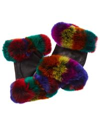 Adrienne Landau Leather Gloves - Black