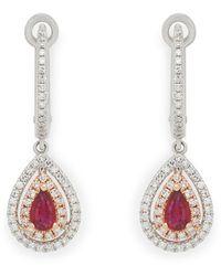 Effy Fine Jewellery 14k Two-tone 0.87 Ct. Tw. Diamond & Ruby Earrings - Multicolour