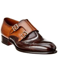 Santoni Leather Double Monk Strap - Brown