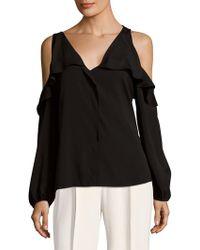 Saks Fifth Avenue Black - Ruffled Cold Shoulder Top - Lyst