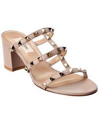Valentino Rockstud Leather Sandals - Multicolour