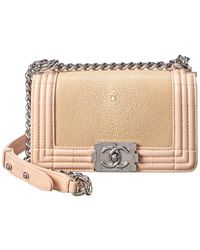 Chanel Pink Stingray Leather Small Single Flap Boy Bag - Multicolour